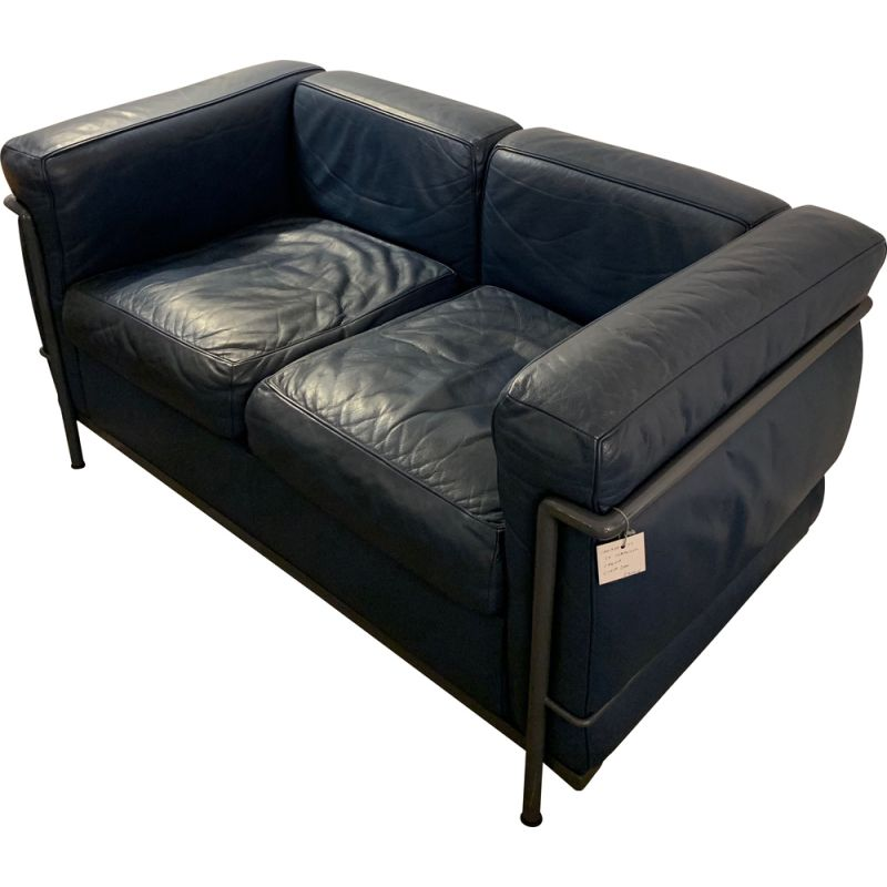 Sofa LC2 grey-blue by Le Corbusier for Cassina