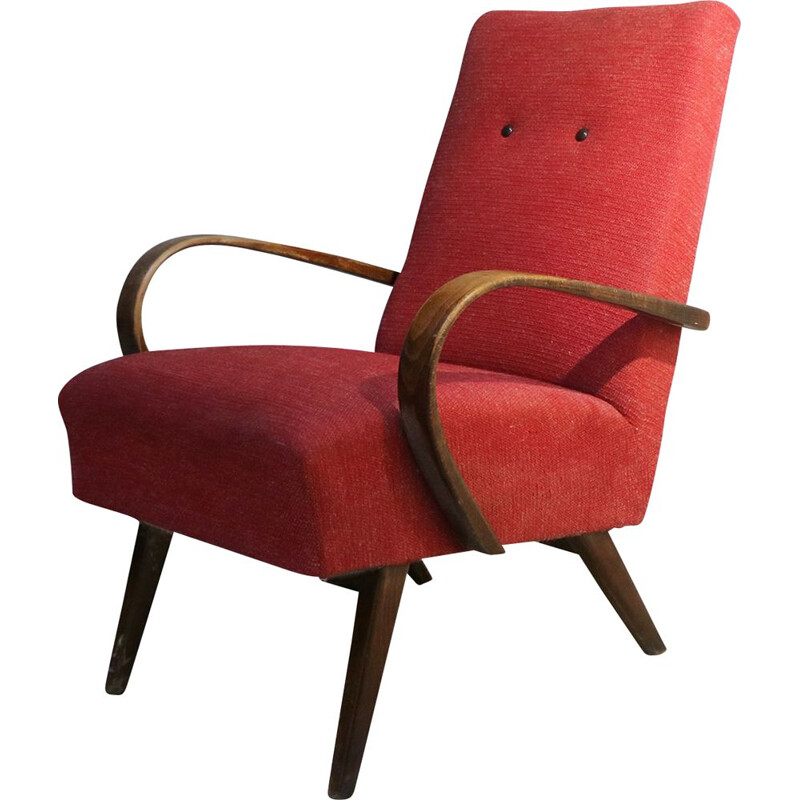 Czech Art Deco armchair in the style of  Jindrich Halabala 1940's
