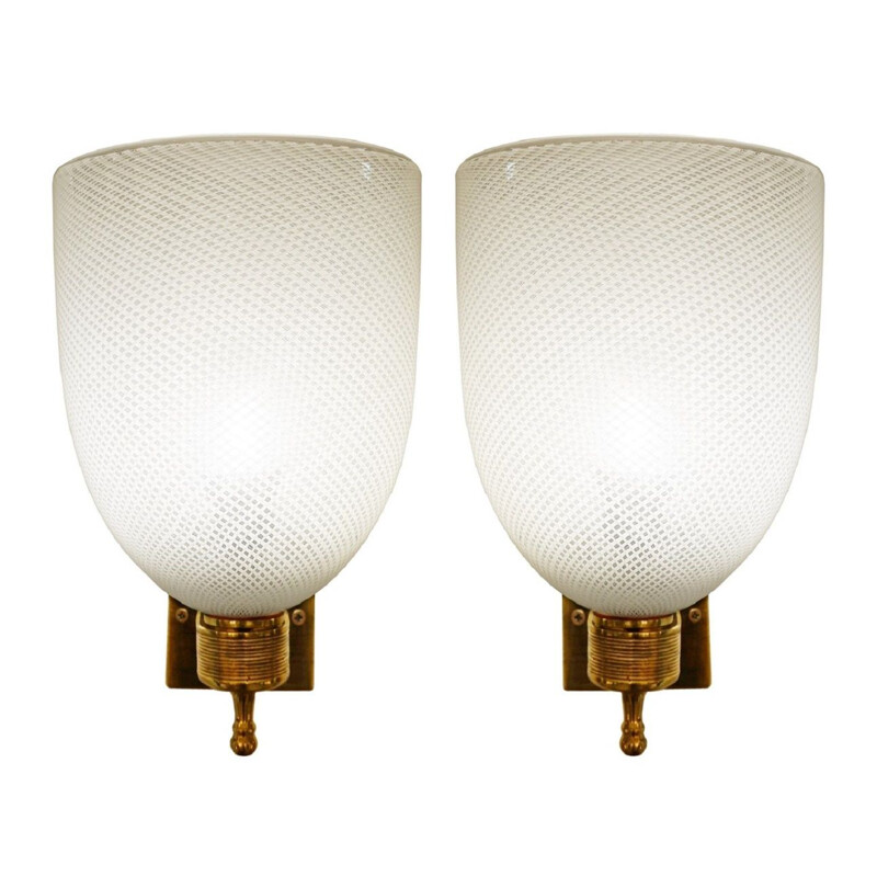 Pair of vintage brass and glass sconces designed by Carlo Scarpa for Venini 1950