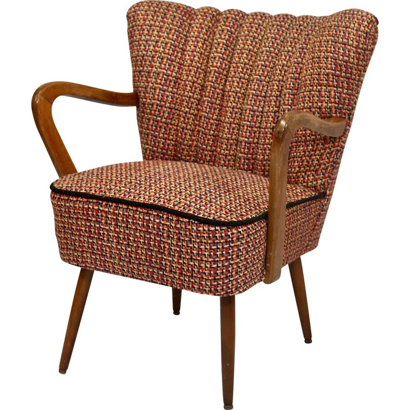 Armchair vintage restored with brown fabric 1950