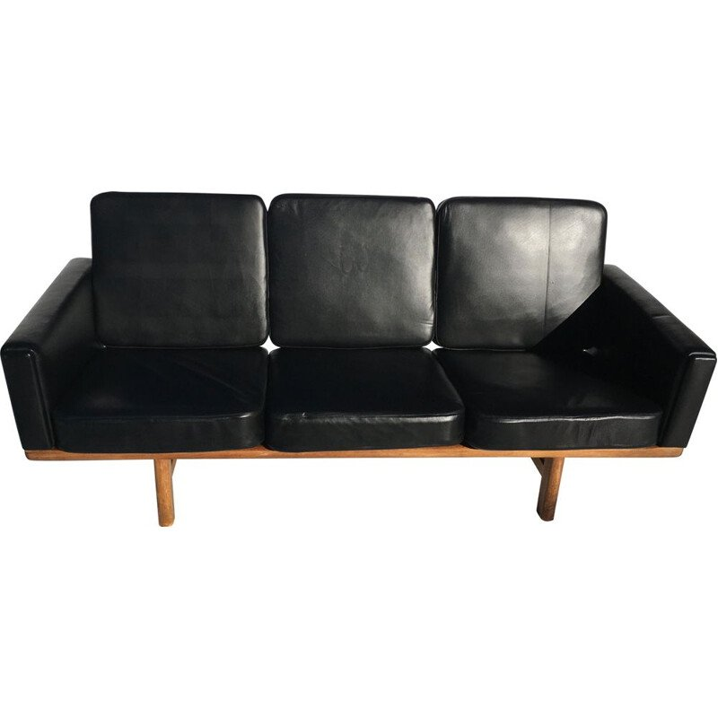 Sofa 3 seater in black leather and oak by Hans Wegner