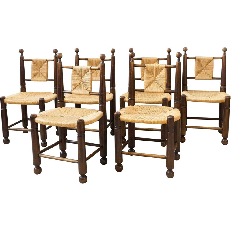 Series of 6 straw chairs 1950s