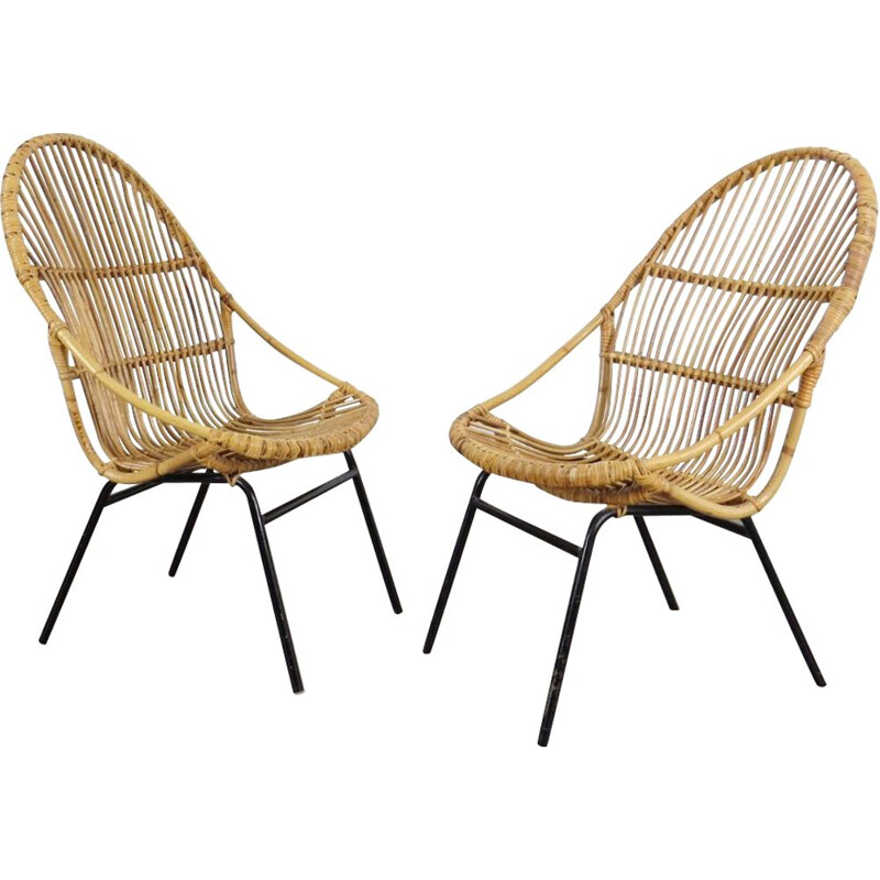 Set of rattan armchair produced by Alan Fuchs during the 1960