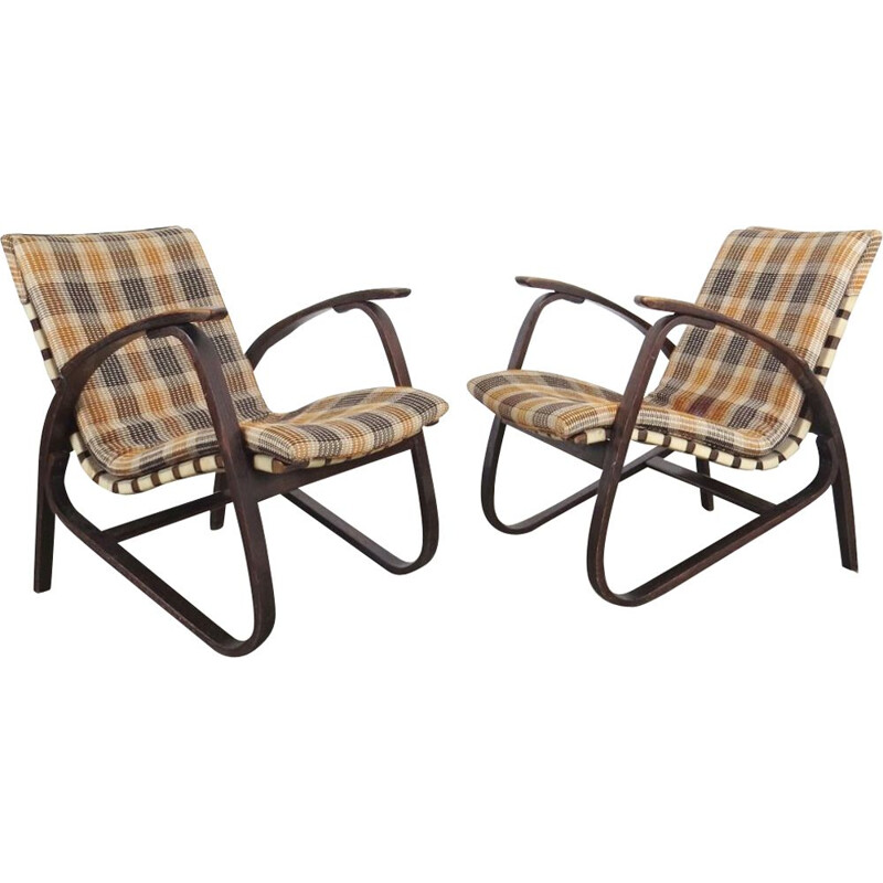 Set of armchairs produced by Jan Vanek during the 1940's