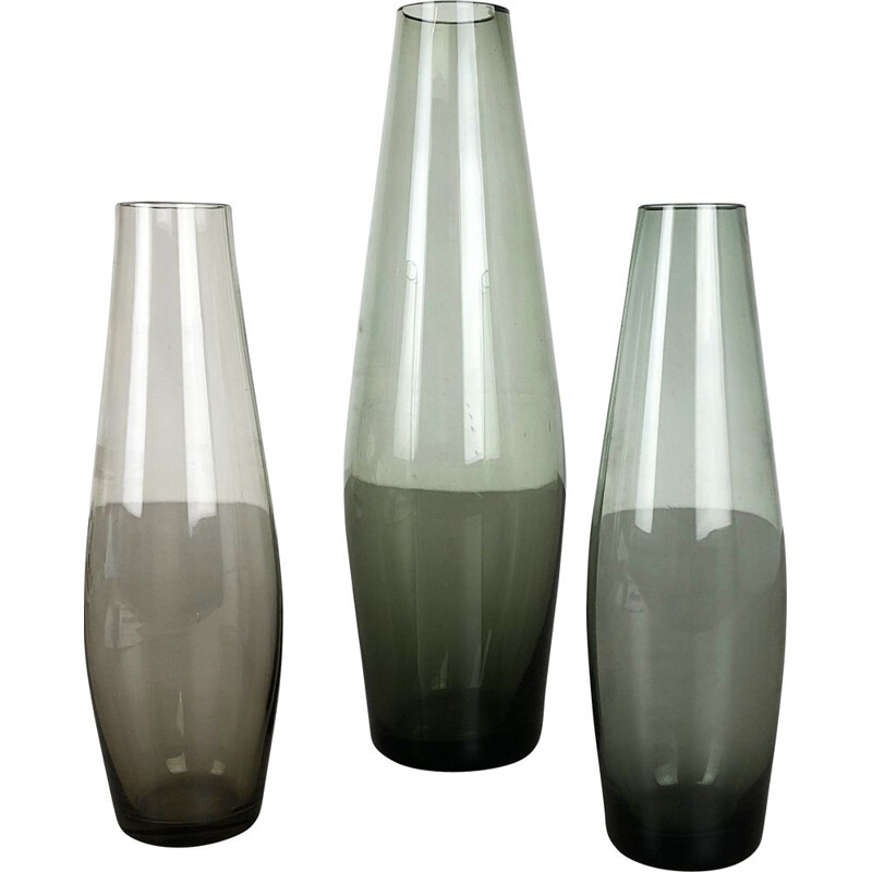 Set of Three Turmalin Vases Vintage by Wilhelm Wagenfeld for WMF, Germany 1960s