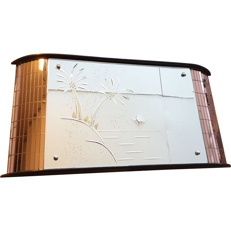 Art Deco Engraved Curved Mirror