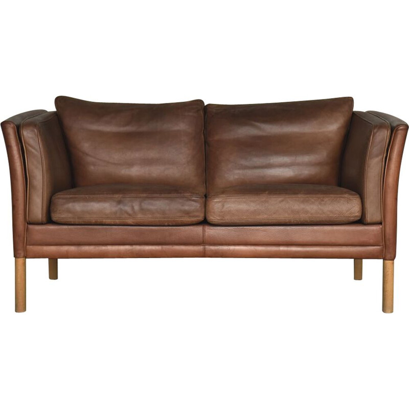 Mid-Century Modern Danish Brown Leather Sofa from Stouby, 1960s
