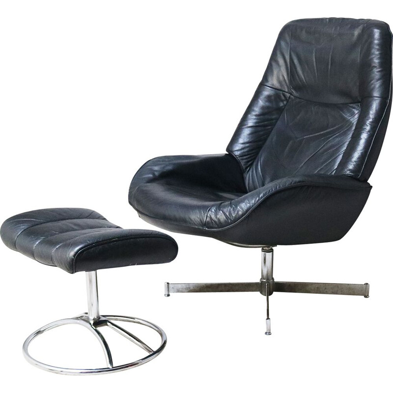 1960's Danish mid century reclining lounge chair and footstool
