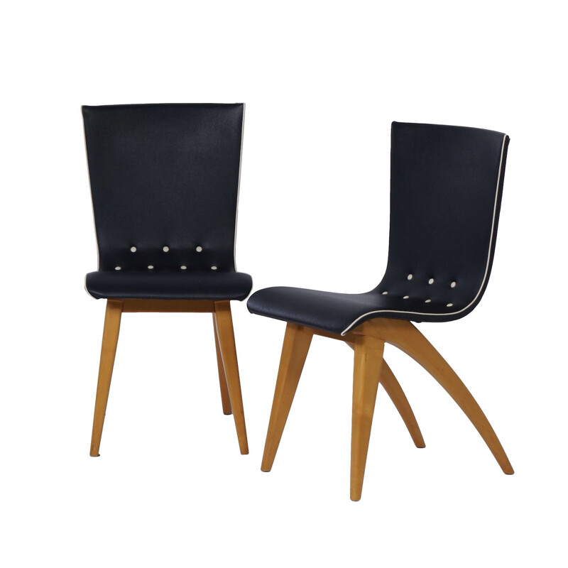 Set of 2 dutch dining chairs in Bent Maple Wood by Van Os 1950s