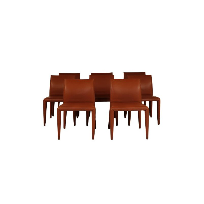 Set of 8 vintage brown leather chairs, Mario Bellini for B&B Italia