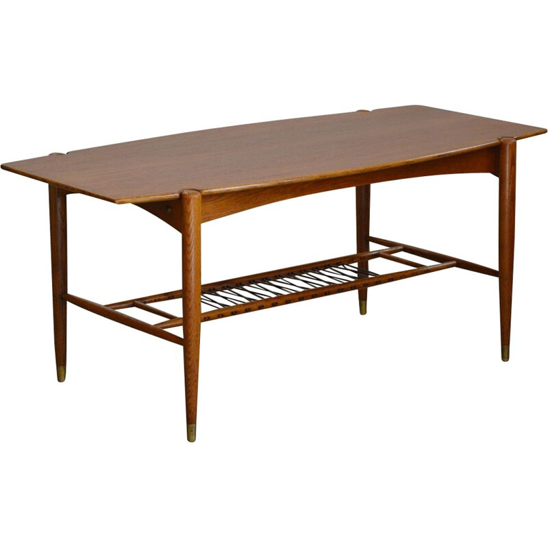 Scandinavian Mid-Century Coffee Table, Made of solid oak and teak 1960s