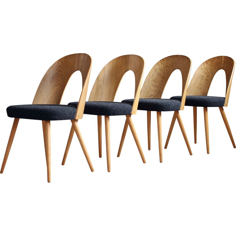 Set of 4 Dining Chairs by A. Šuman in Melange-Black Wool by Kvadrat