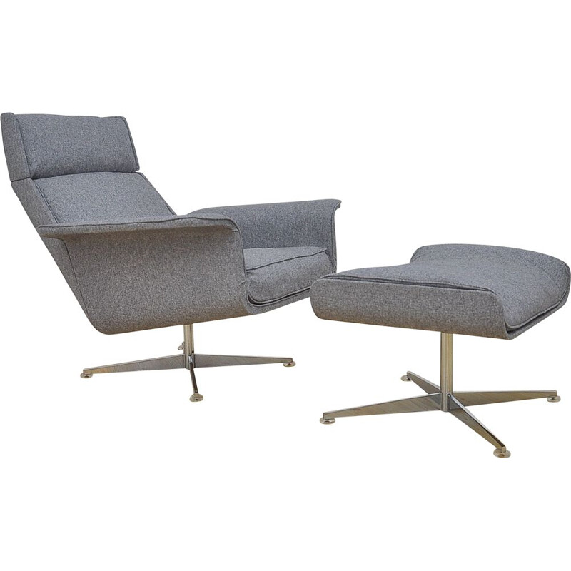 Lounge Chair with Ottoman by Hans Kaufeld, 1960s