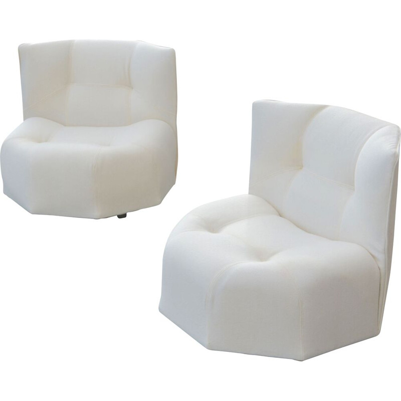 "Rare pair of ""Octa"" armchairs by Bernard Govin"