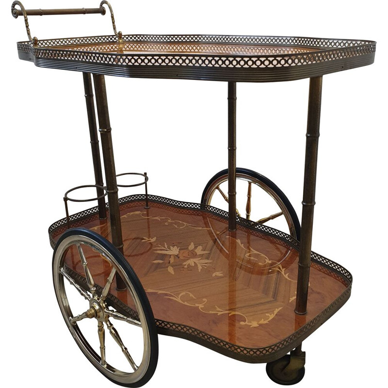 Italian brass trolley bar cart with wooden inlay and faux bamboo 1950s