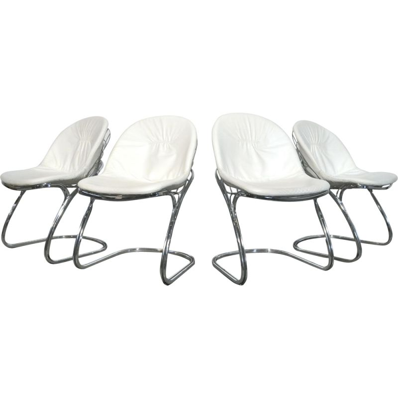 """Set of 4 """"Pascale"""" wire chairs designed by Gastone Rinaldi for Thema"""