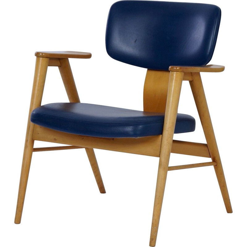 Armchair by Cees Braakman for Pastoe Birch and Blue Leather 1950