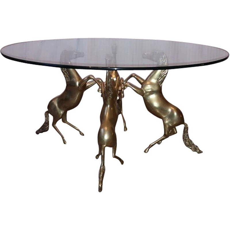 Rare 4 Horses Coffee Table Brass end couch jansen charles Brass 1970