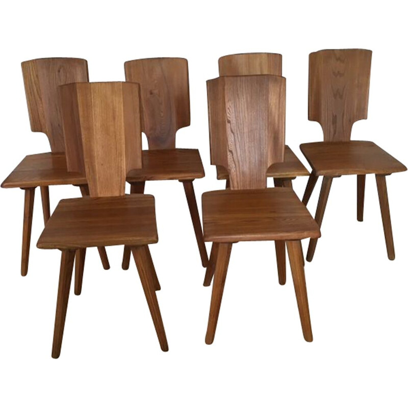 Set of 6 elm Pierre Chapo chairs 1976