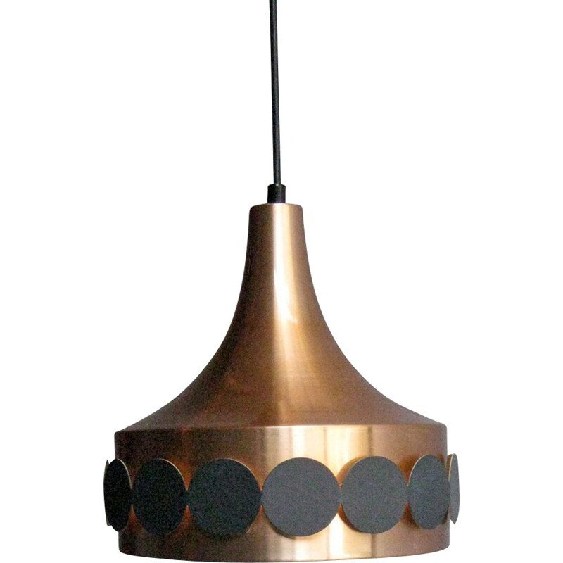 Copper and black metal hanging lamp, Vintage 1960s