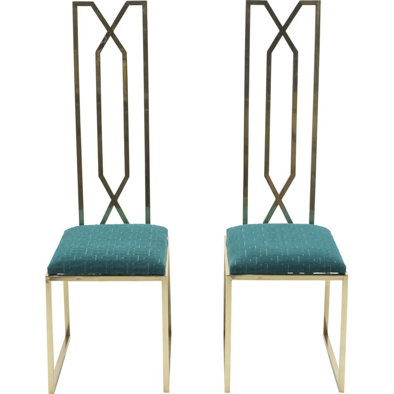 Pair of Alain Delon brass chairs for Jean Charles 1970