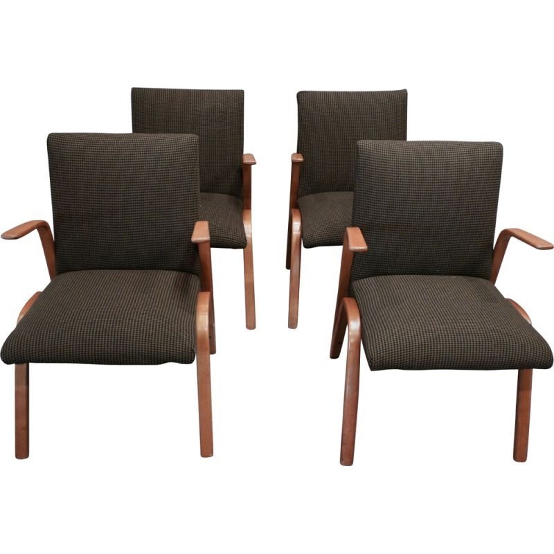 Suite of 4 design armchairs 1950 Hugues Steiner