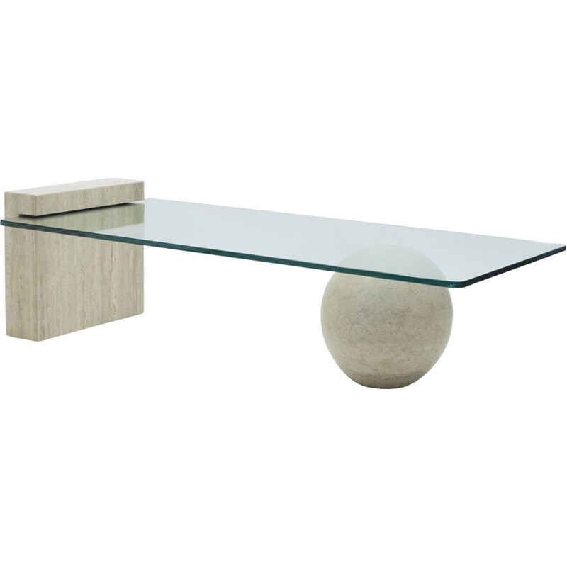 Rare travertine and glass coffee table by Philippe Barbier 1970
