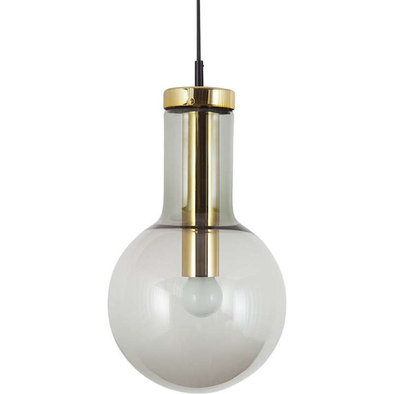 Maxi Bulb Light smoked glass with brass colored metal socket by Raak