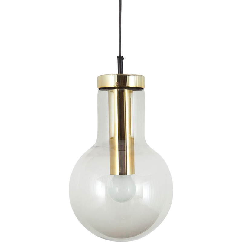 Maxi Bulb Medium Light smoked glass with brass colored metal socket By Raak