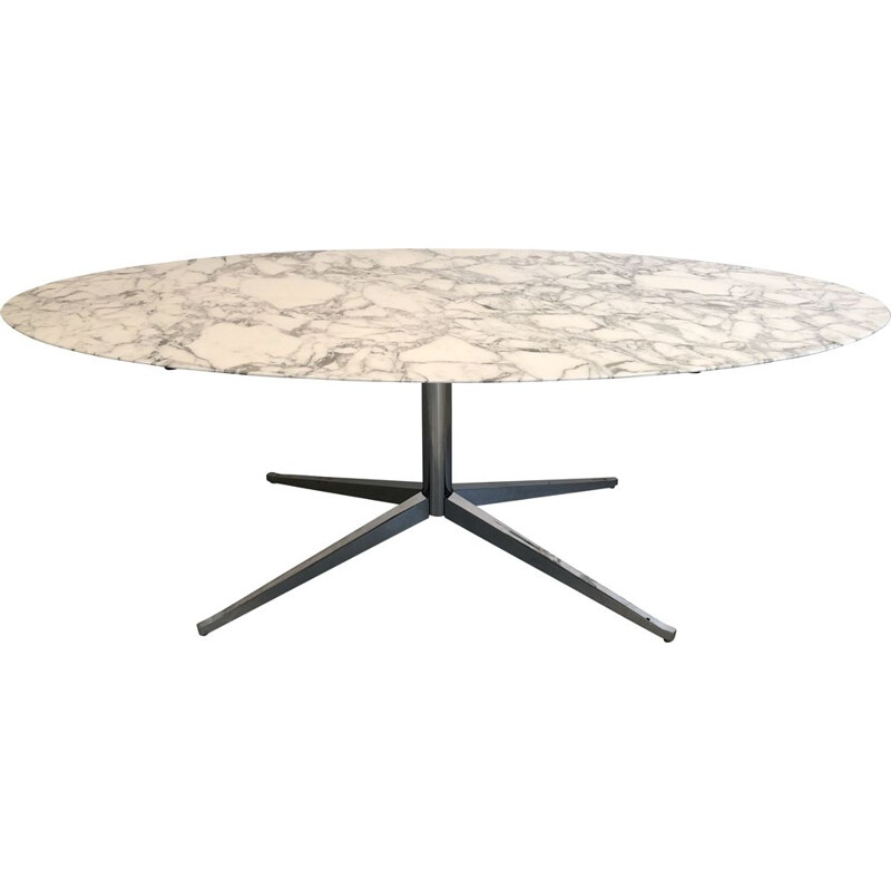 Oval dining table in Florence Knoll marble for Knoll International