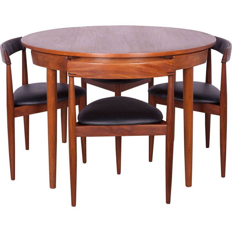 Teak Dining Table & 4 Chairs Set by Hans Olsen for Frem Røjle, 1950s
