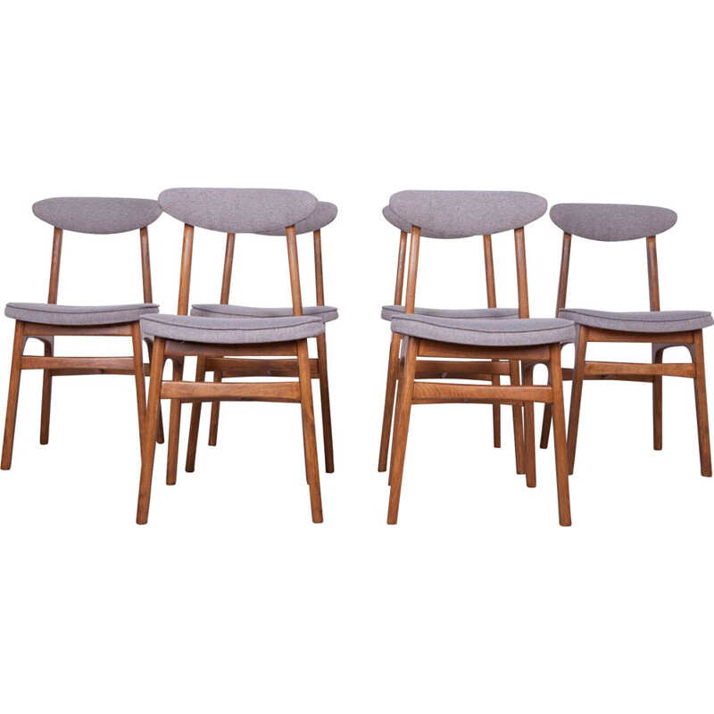 Set of 6 beech and Fabric Model 200-190 Dining Chairs by Rajmund Teofil Hałas, 1960s
