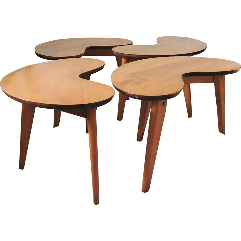 Set of 4 vintage Mid-Century Kidney Shape Side Table