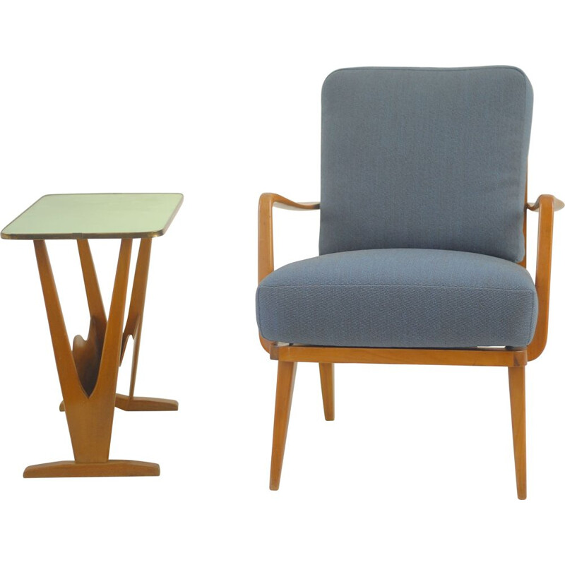 Armchair and table Vintage by Knoll 1960