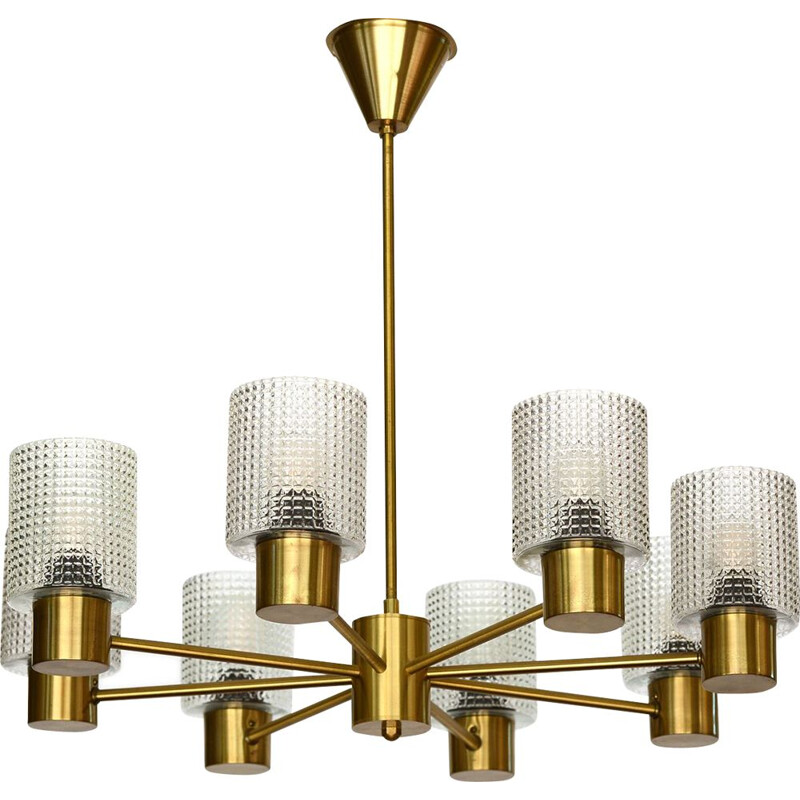 Brass eight arm chandelier with glass shades by HJA. Sweden 1960s