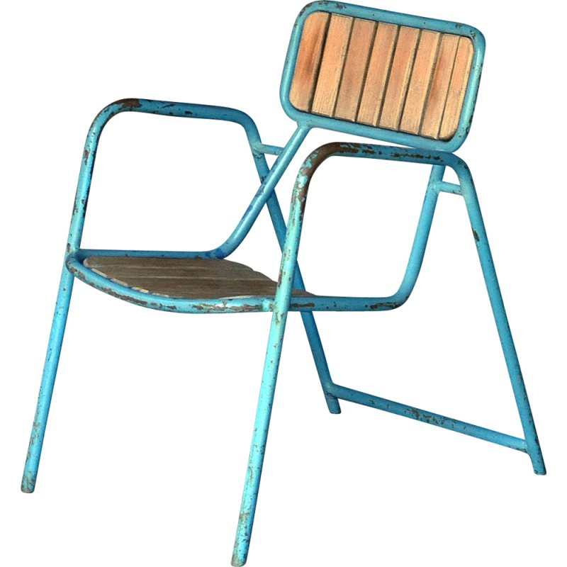 Blue Garden Chair In Metal And Oak Wood 1950s
