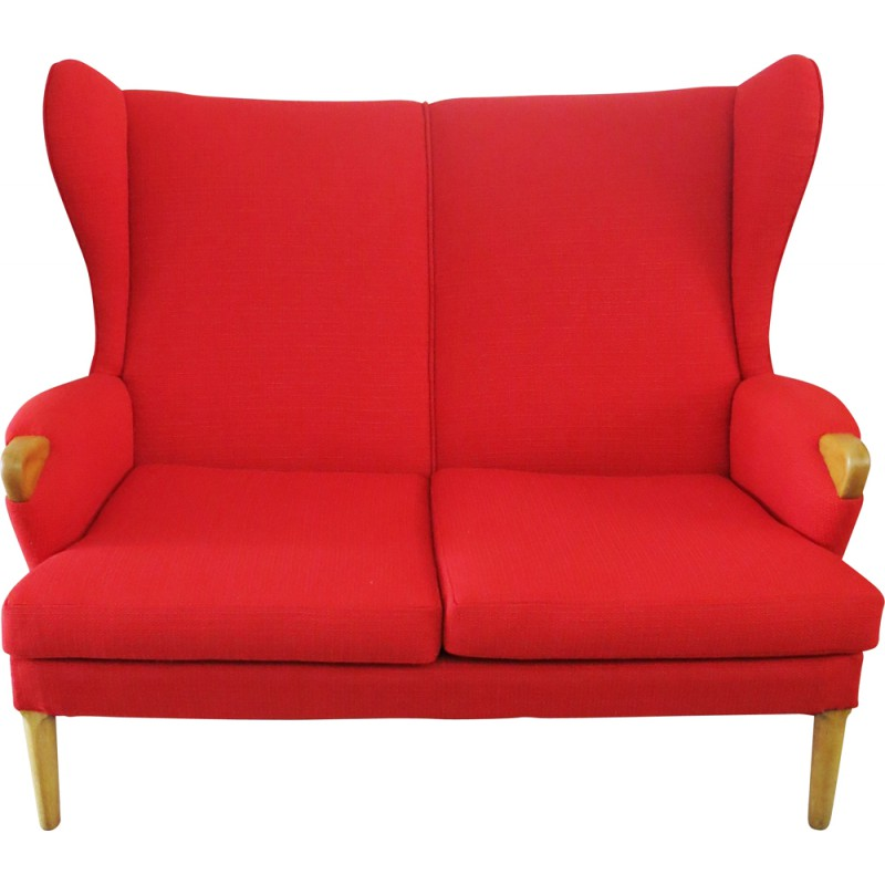Parker Knoll Wingback Sofa In Oak And Red Fabric 1960s