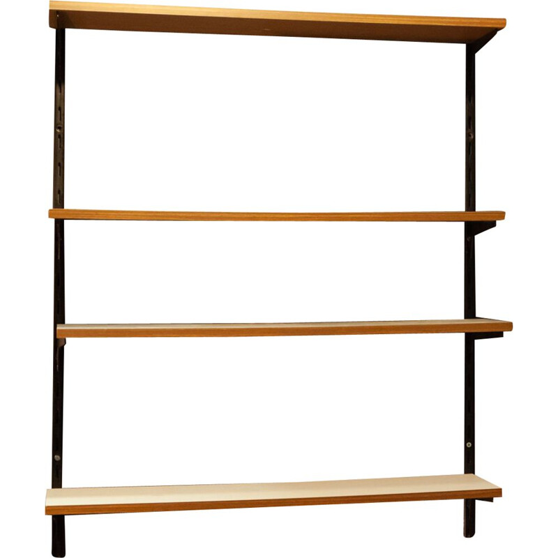 Pair of vintage shelves black iron uprights 1970