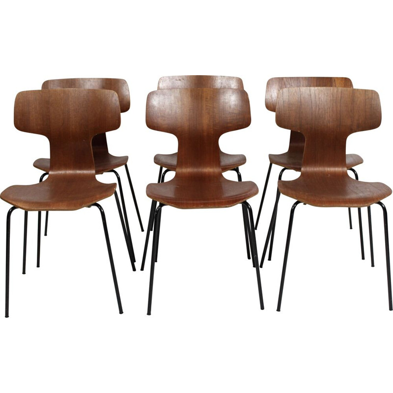 Set of 6 Hammer chairs, model 3103, designed by Arne Jacobsen