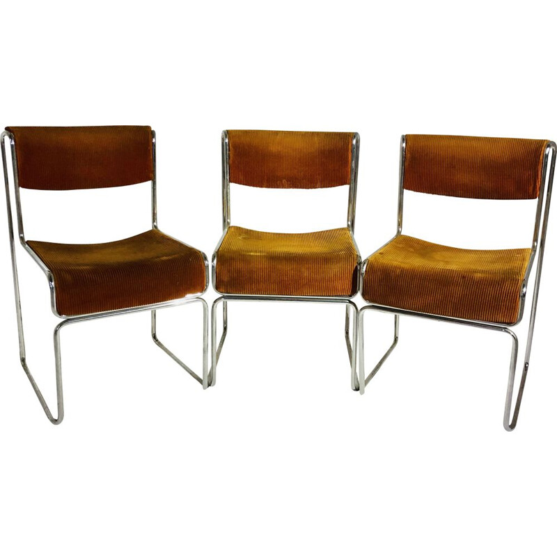 Suite of 3 vintage Italian style chairs with velvet seats