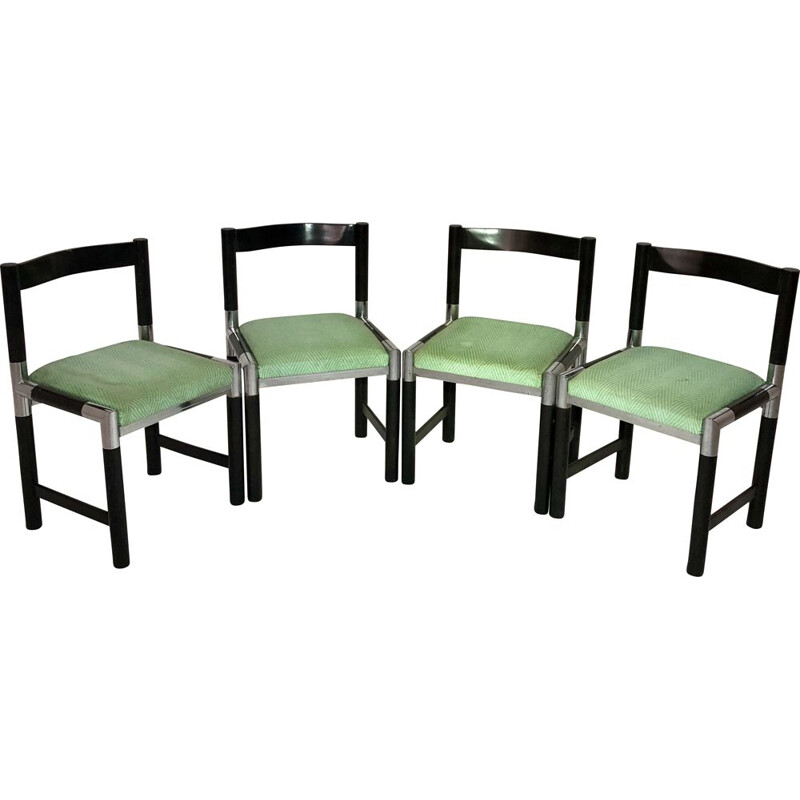 Suite of 4 vintage chairs with tubular legs and fabric seats