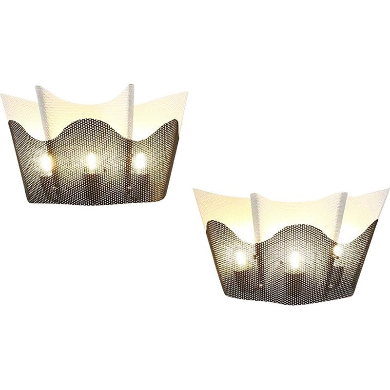 Pair of vintage black and white perforated metal wall lights 1960