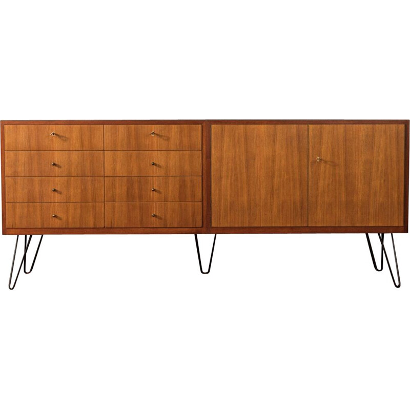Vintage walnut veneer sideboard with eight drawers WK Möbel 1950