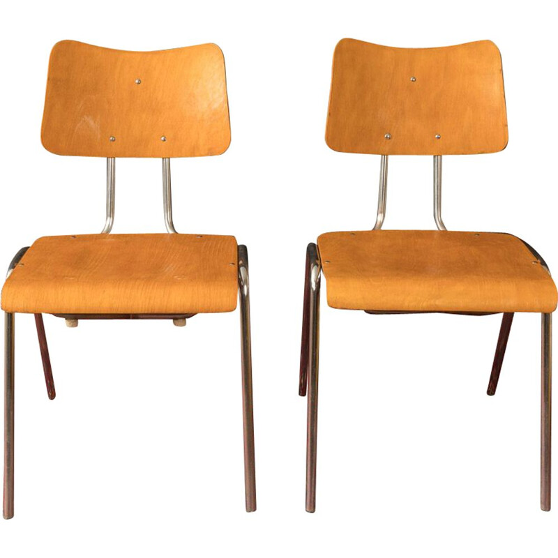 Chairs tubular steel frame plywood seat shell 1950