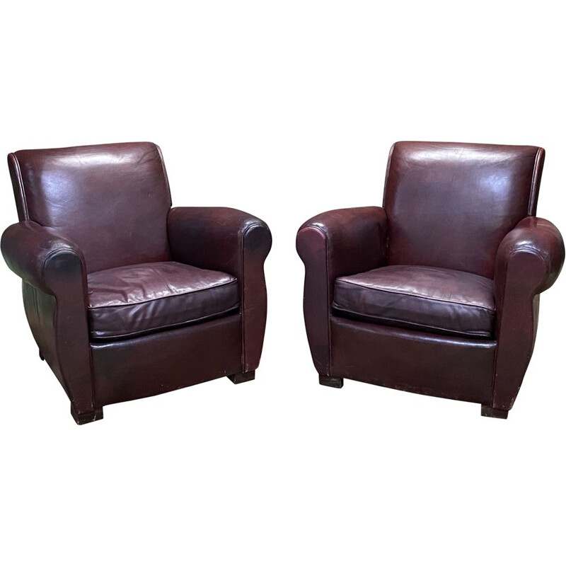 Pair of vintage burgundy leather club chairs 1950's