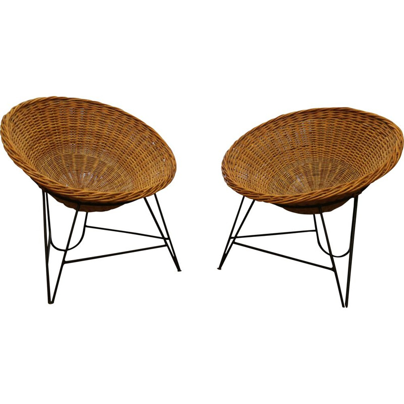 Rattan basket armchair from the 60's