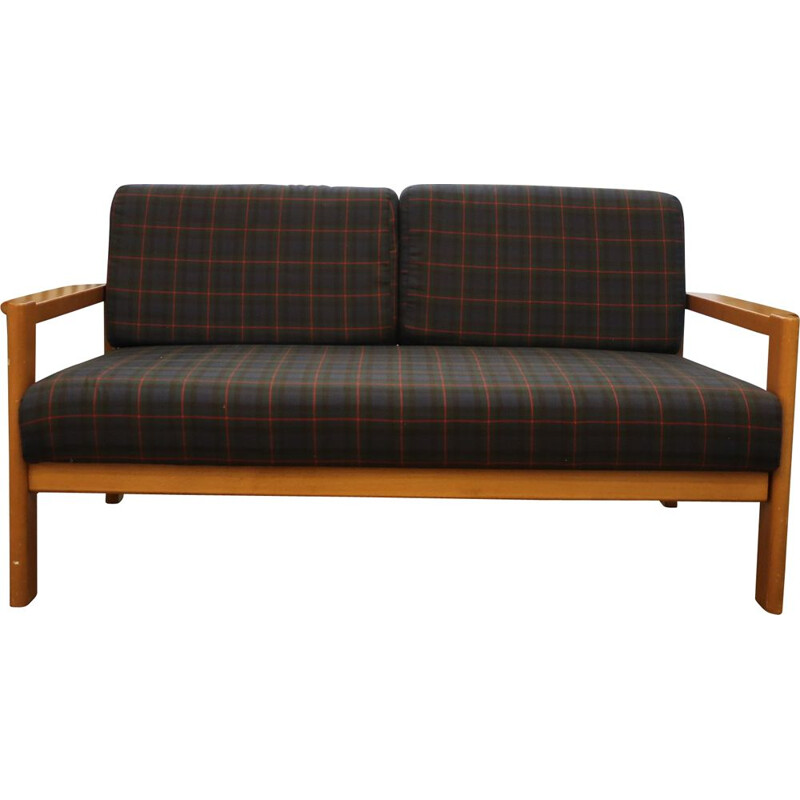 Vintage sofa with checkered fabric, 1960