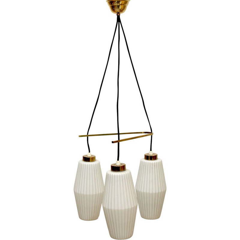 Italian vintage ceiling lamp in opal glass and brass 1950s