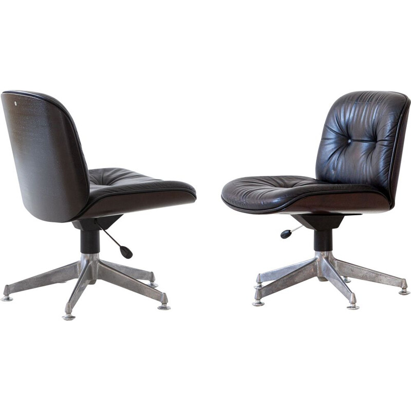 Pair of Natural Leather Office Chairs by Ico Parisi for MIM Roma, 1960s
