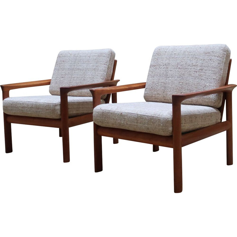 Pair of teak vintage armchairs by Sven Ellekaer for Komfort 1960